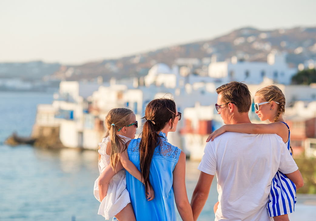 Family enjoying a luxury holiday in Greece