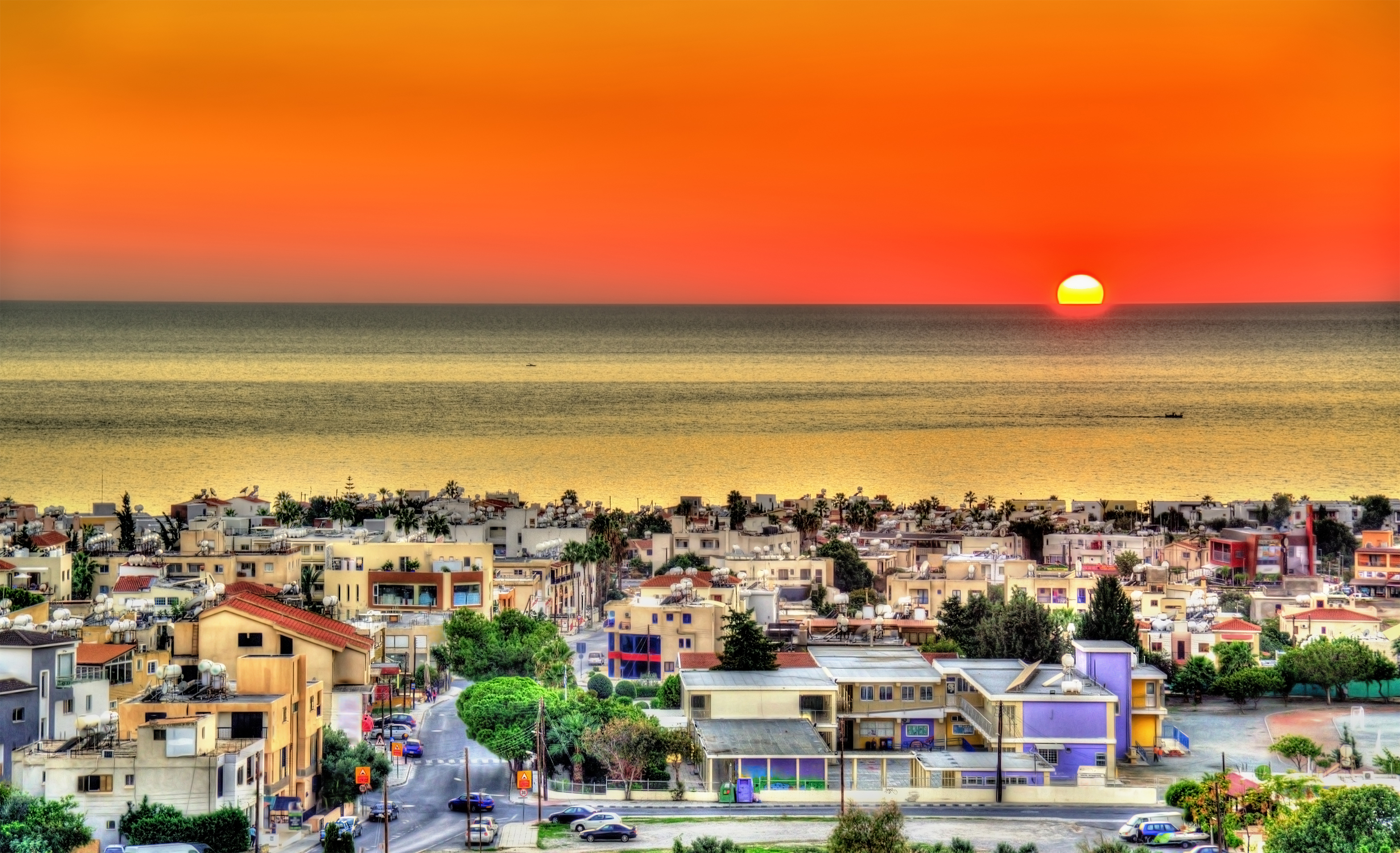 Aerial view of Paphos at sunset
